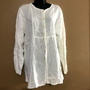 Flax Womens Ivory Linen Button Down Tunic Top